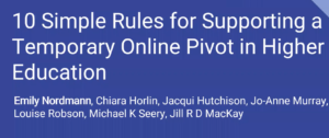 10 simple rules for supporting a temporary online pivot in higher education [Webinar]