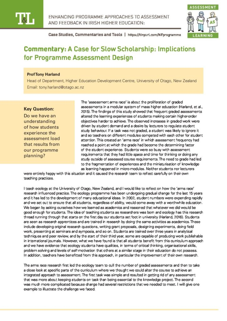 A Case for Slow Scholarship: Implications for Programme Assessment Design