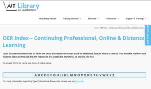 AIT OER Index – Continuing Professional