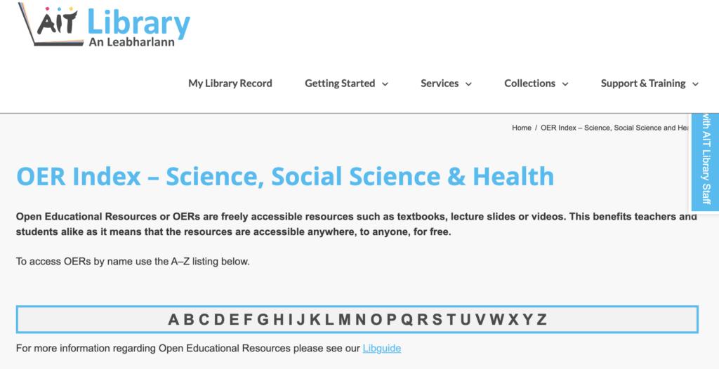 AIT OER Index – Science