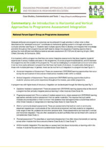 An Introduction to Horizontal and Vertical Approaches to Programme Assessment Integration