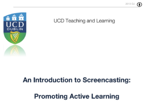 An introduction to screencasting: promoting active learning