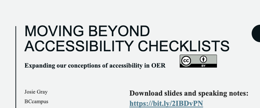 BCcampus presentation: 'Moving beyond accessibility checklists'