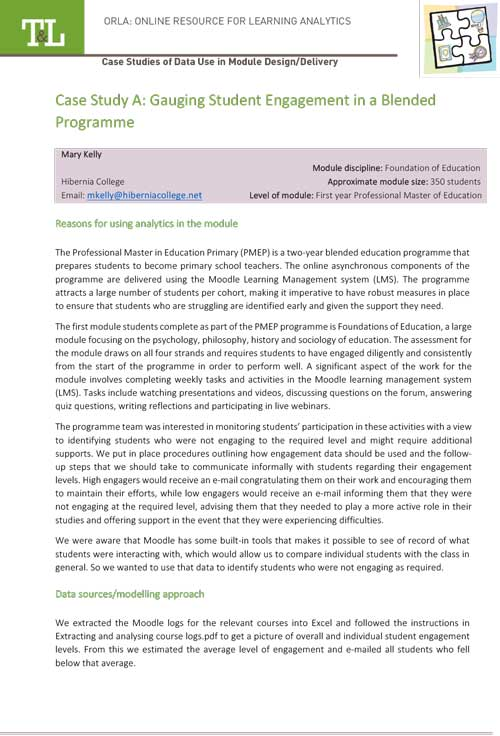 Case Study A: Gauging Student Engagement in a Blended Programme