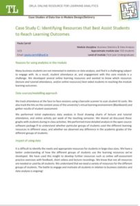 Case Study C: Identifying Resources that Best Assist Students to Reach Learning Outcomes