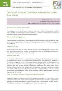 Case Study F: Balancing Quantitative and Qualitative Data to Drive Change