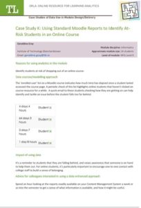 Case Study K: Using Standard Moodle Reports to Identify AtRisk Students in an Online Course