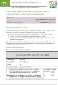 Case Study L: Using Examination Data Analysis Forms to Implement Year-on-Year Module Improvements
