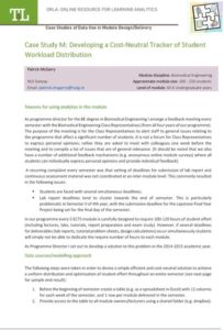 Case Study M: Developing a Cost-Neutral Tracker of Student Workload Distribution