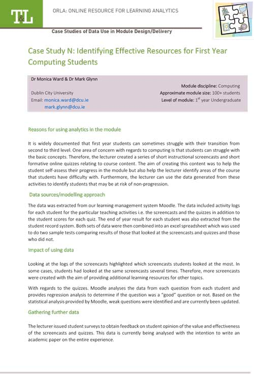 Case Study N: Identifying Effective Resources for First Year Computing Students