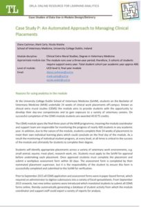 Case Study P: An Automated Approach to Managing Clinical Placements
