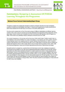 Designing in Assessment OF/FOR/AS Learning Throughout the Programme