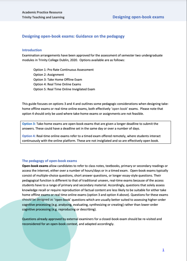 Designing open-book exams: Guidance on the pedagogy