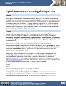 Digital Assessment: Expanding the Repertoire