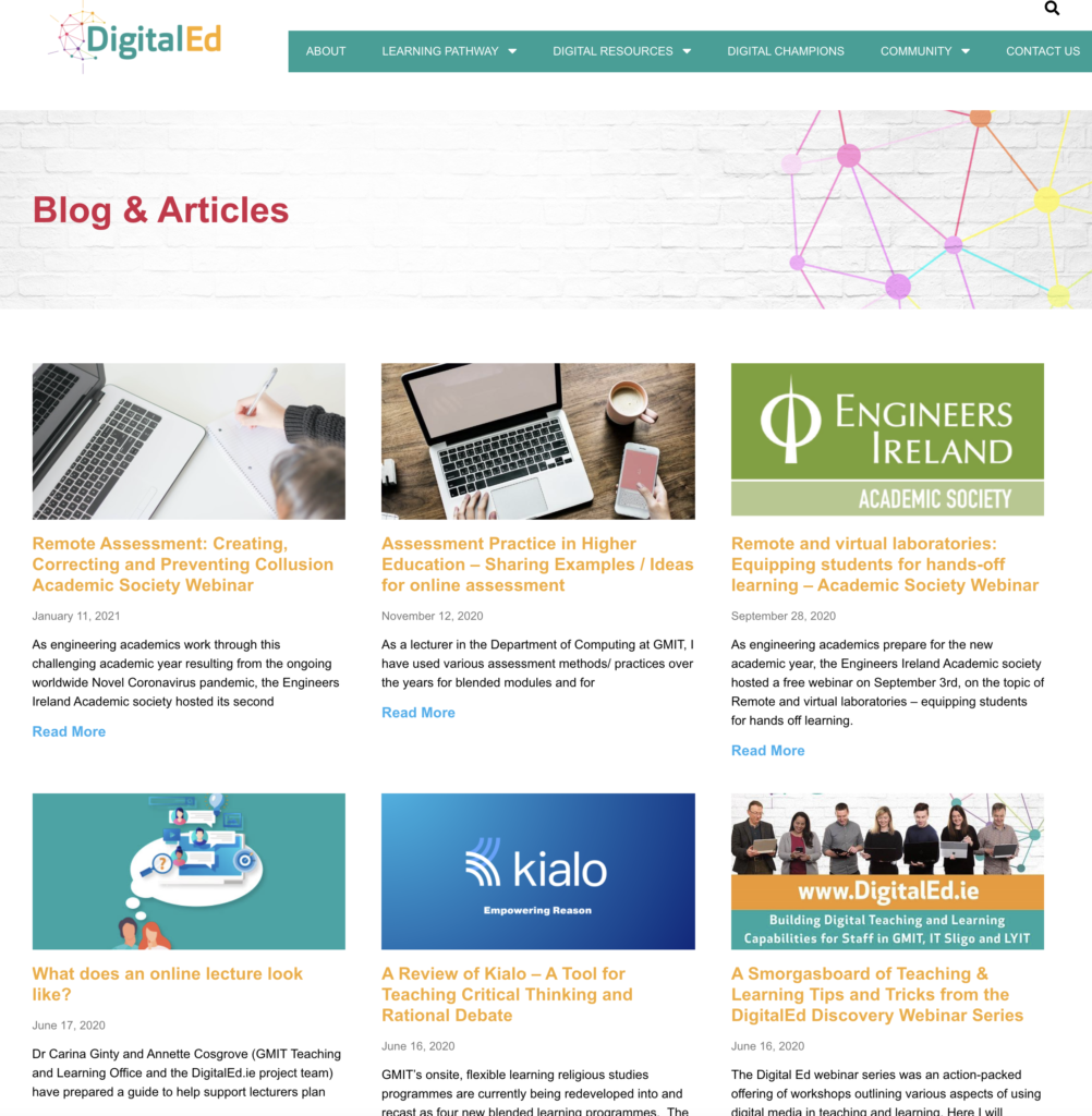 DigitalEd Blog; A link to some practical advice guides for students and teachers to support learning online