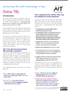 Enhancing TBL with technology- 5 tips: online TBL