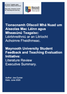 Executive Summary: Maynooth University Student Feedback and Teaching Evaluation Initiative: Literature Review Executive Summary.