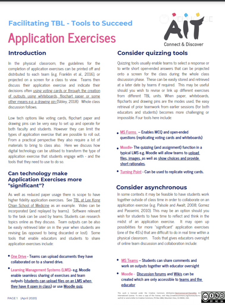 Facilitating TBL - tools to succeed: application exercises