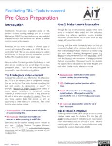 Facilitating TBL - tools to succeed: pre class preparation