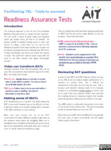 Facilitating TBL - tools to succeed: readiness assurance tests