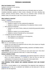 Feedback action planning sheet