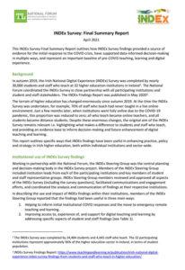 INDEx Survey: Final Summary Report