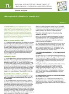 Learning Analytics Benefits for Staff