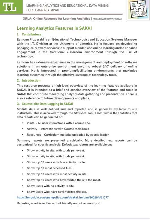 Learning Analytics Features In SAKAI