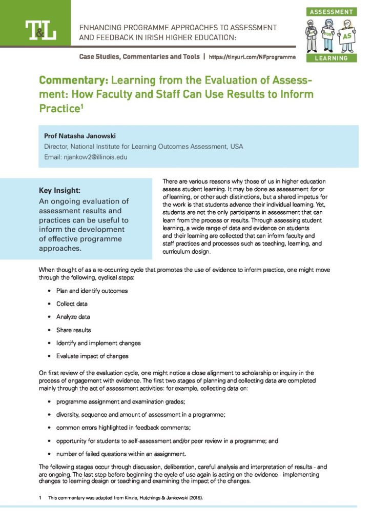 Learning from the Evaluation of Assessment: How Faculty and Staff Can Use Results to Inform Practice