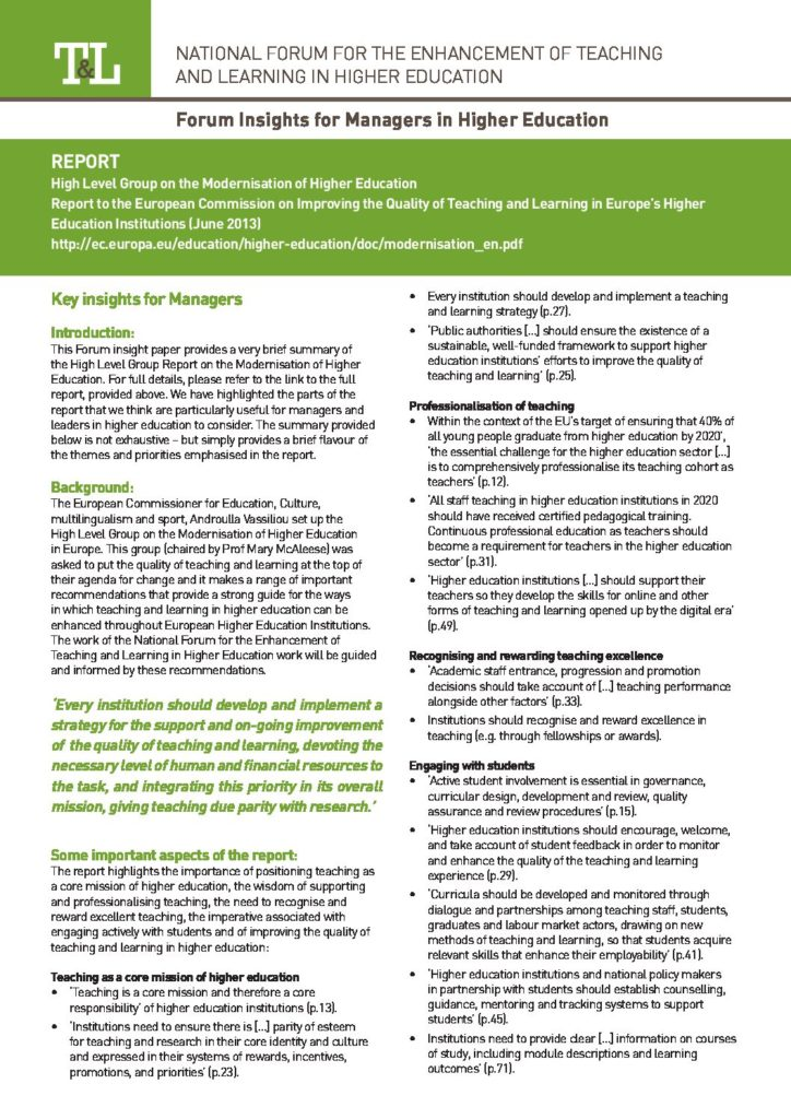 Report to the European Commission on New Modes of Learning and Teaching in Higher Education: Insight for Managers