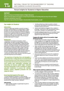 Report to the European Commission on New Modes of Learning and Teaching in Higher Education: Insight for Students