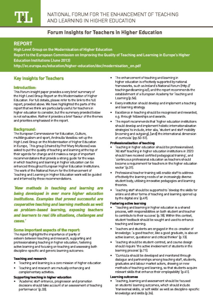 Report to the European Commission on New Modes of Learning and Teaching in Higher Education: Insight for Teachers