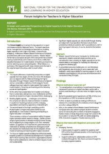 Strategic and Leadership Perspectives on Digital Capacity in Irish Higher Education: Insight for Teachers
