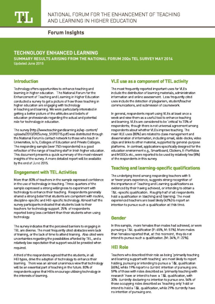 Technology Enhanced Learning: Summary Results Arising from the National Forum 20Qs TEL Survey May 2014