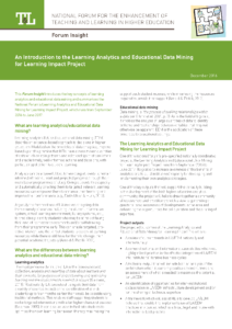 An Introduction to the Learning Analytics and Educational Data Mining for Learning Impact Project