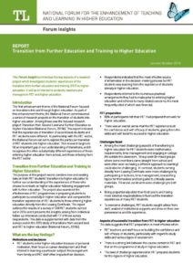 Transition from Further Education and Training to Higher Education