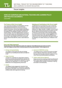 Some Key European and National Teaching and Learning Policy and Practice Documents