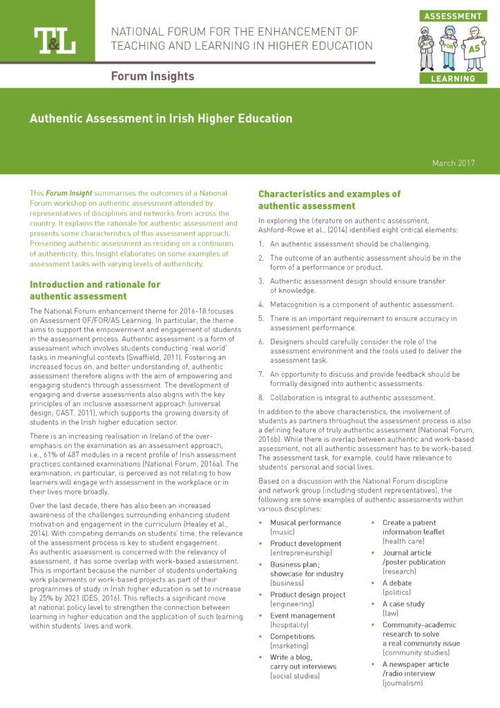 Authentic Assessment in Irish Higher Education