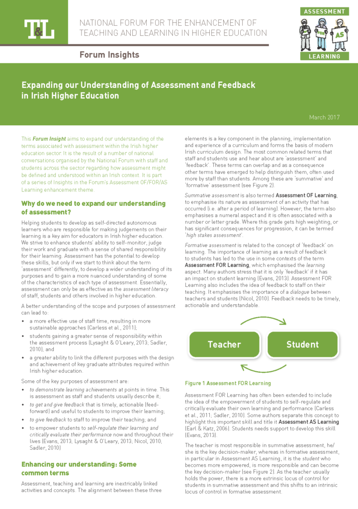 Expanding our Understanding of Assessment and Feedback in Irish Higher Education