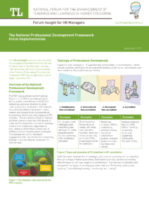 The National Professional Development Framework Initial Implementation: Forum Insight for HR Managers