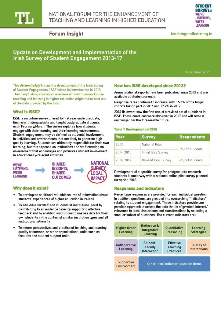 Update on Development and Implementation of the Irish Survey of Student Engagement 2013-17