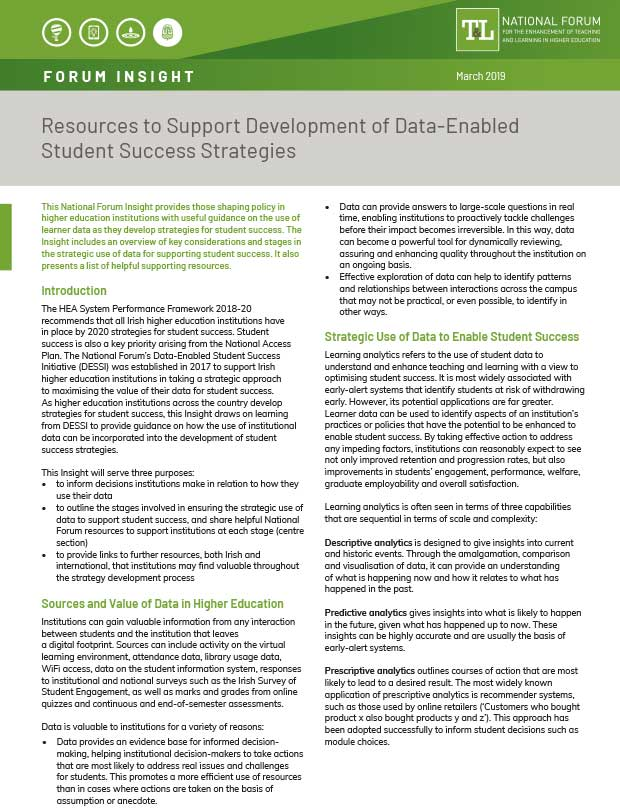 Resources to Support Development of Data-Enabled Student Success Strategies
