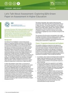 Let's Talk About Assessment: Exploring QQI's Green Paper on Assessment in Higher Education