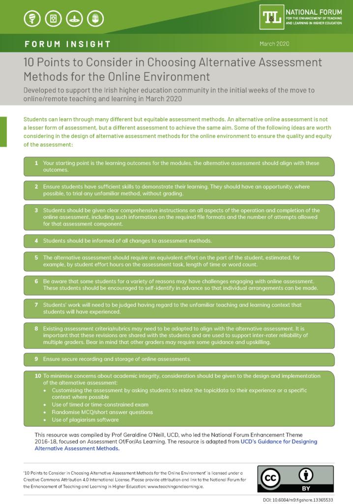 10 Points to Consider in Choosing Alternative Assessment Methods for the Online Environment