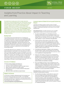 Insights from Practice About Impact in Teaching and Learning
