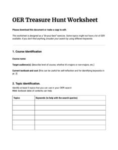 OER Treasure Hunt Worksheet
