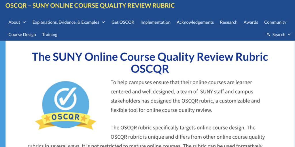 OSCQR – SUNY online course quality review rubric