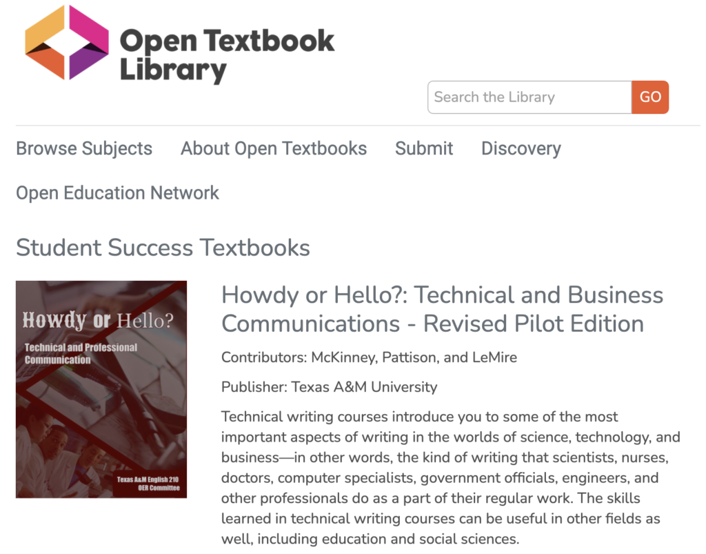 Open Textbook Library - Student Success