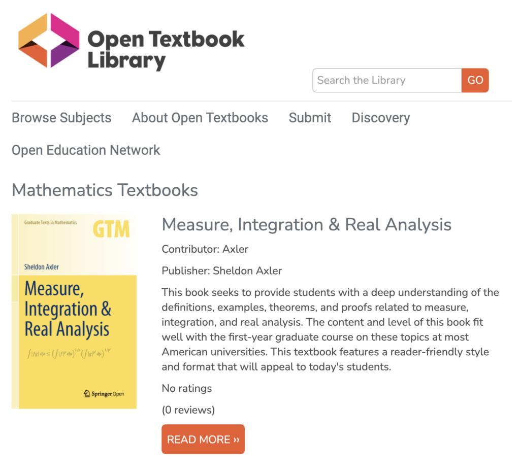 Open Textbooks - Mathematics