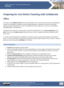 Preparing for Live Online Teaching with Collaborate Ultra